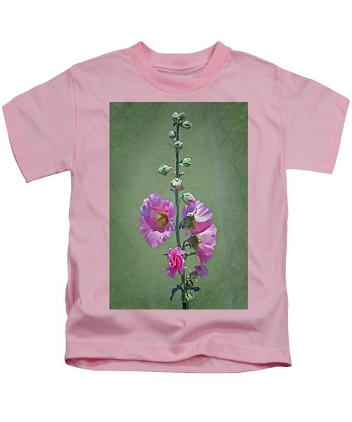 Pink Hollyhocks Kids T-Shirt