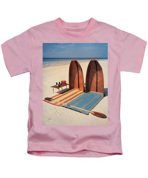 Pixie Collapsible Boat On The Beach Kids T-Shirt