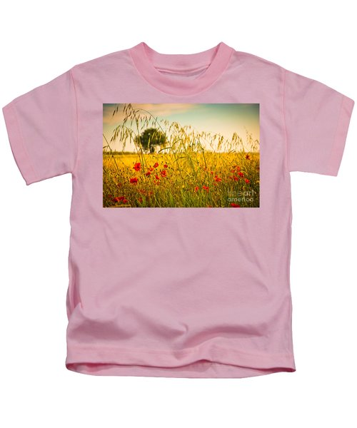 Poppies With Tree In The Distance Kids T-Shirt