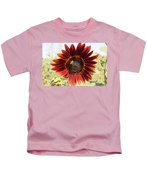 Red Sunflower And Bee Kids T-Shirt