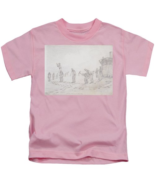 Sailors Playing At Leap Frog, From Sketches Of The Second Parry Arctic Expedition, 1821-2 Graphite Kids T-Shirt