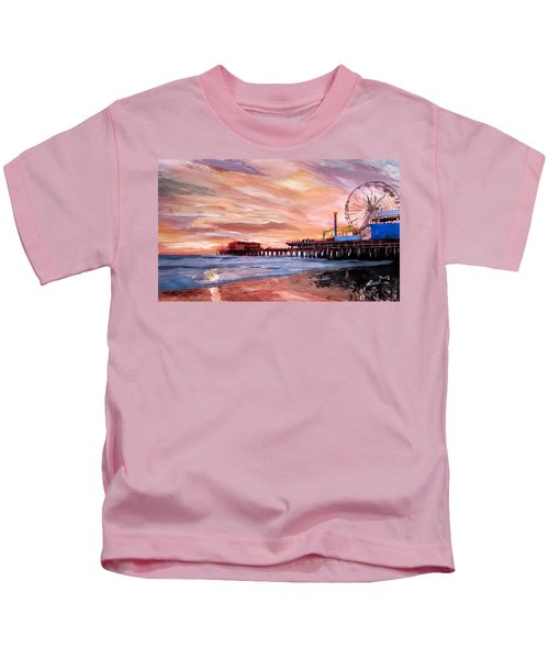 Santa Monica Pier At Sunset Kids T-Shirt