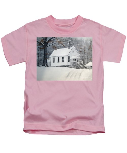 Snowy Gates Chapel  -little White Church - Ellijay Kids T-Shirt