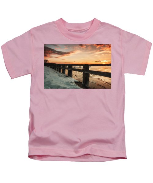 Snowy Sunset In Northport New York Kids T-Shirt