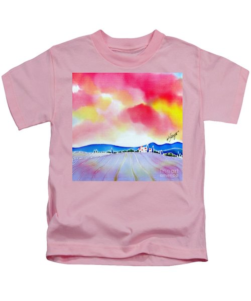 Sunset On The Lavender Farm  Kids T-Shirt