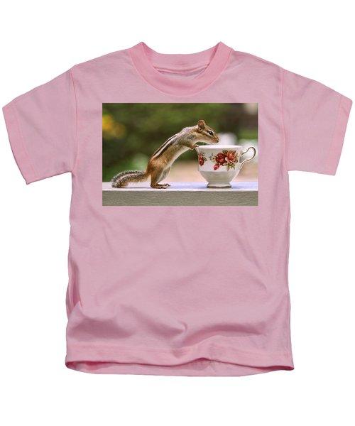 Tea Time With Chipmunk Kids T-Shirt