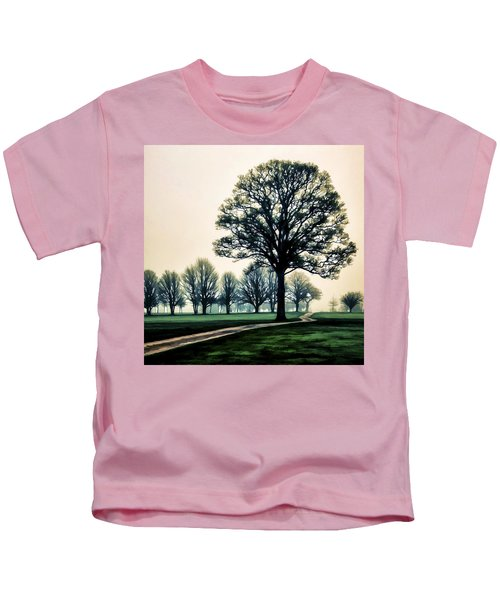 Tree At Dawn On Golf Course Kids T-Shirt