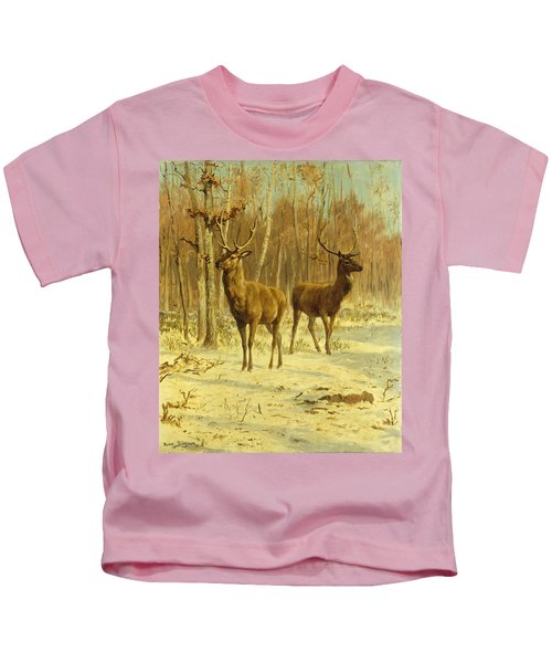 Two Stags In A Clearing In Winter Kids T-Shirt
