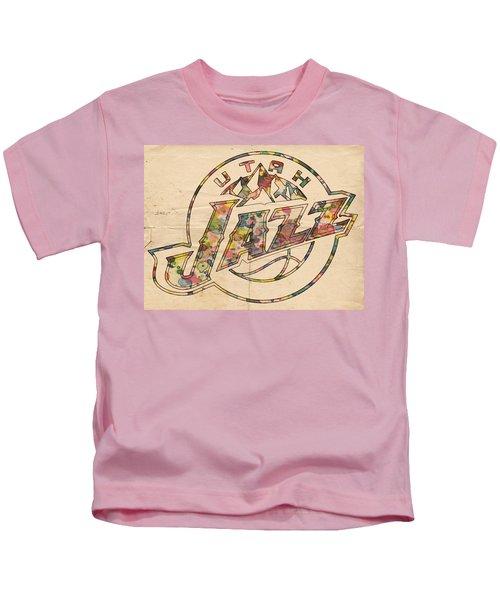 Utah Jazz Poster Art Kids T-Shirt