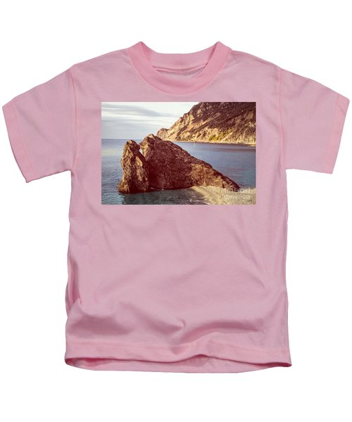 View From Beach Of Monterosso Kids T-Shirt