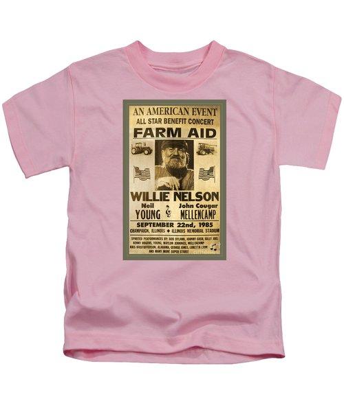 Vintage Willie Nelson 1985 Farm Aid Poster Kids T-Shirt