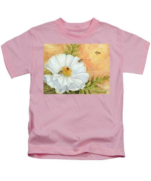 White Poppy And Bees Kids T-Shirt