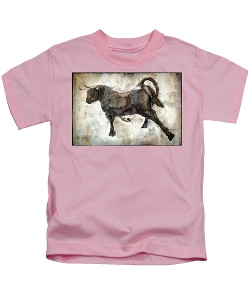Wild Raging Bull Kids T-Shirt by Daniel Hagerman