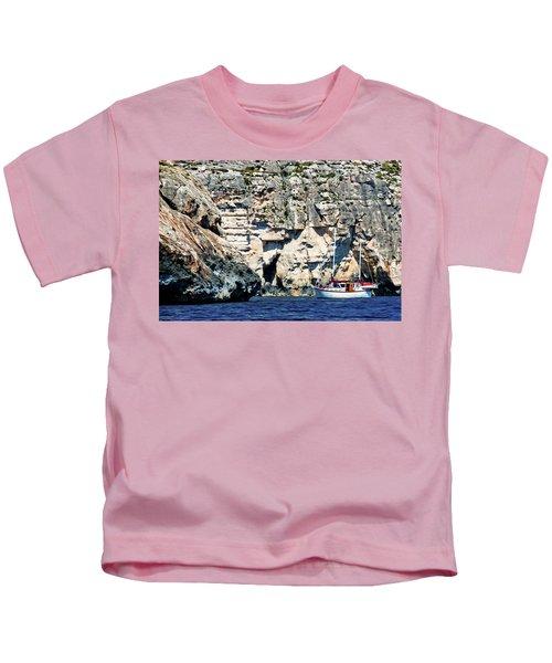 Yacht In Sea Near Popeye Village Kids T-Shirt