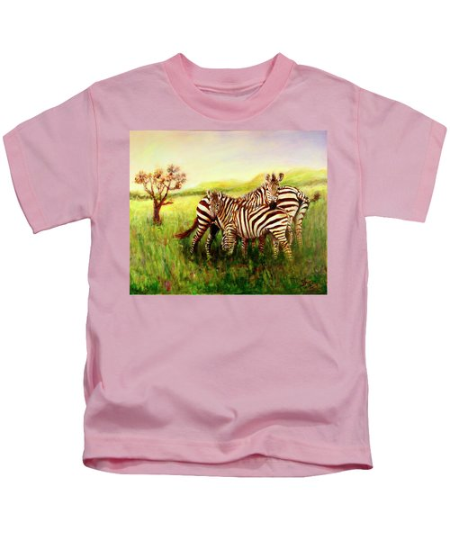 Zebras At Ngorongoro Crater Kids T-Shirt