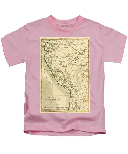 Antique Map Of Peru Kids T-Shirt