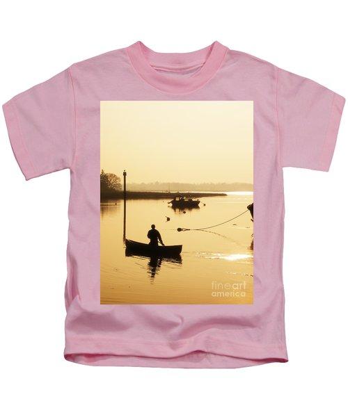 Fisherman On Lake Kids T-Shirt