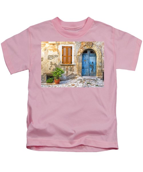 Mediterranean Door Window And Vase Kids T-Shirt
