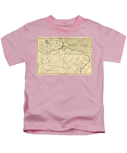 Old Map Of Northern Brazil Kids T-Shirt