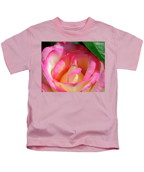 Pink And White Rose Kids T-Shirt
