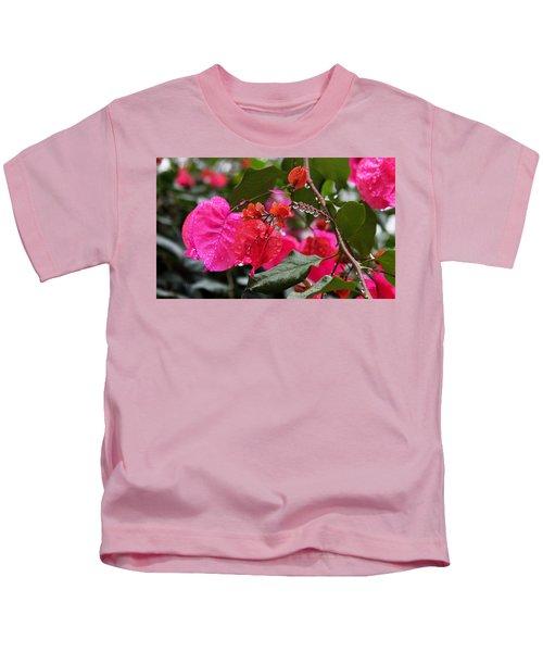 Bougainvillea In The Rain Kids T-Shirt