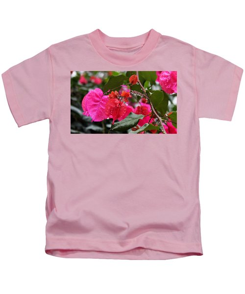 Bougainvillea In The Rain Kids T-Shirt