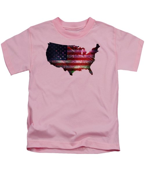 American Flag With Fireworks Display Kids T-Shirt