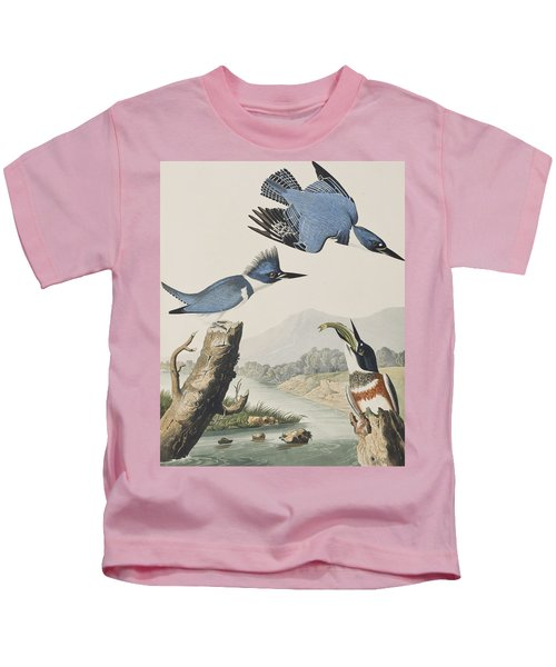 Belted Kingfisher Kids T-Shirt by John James Audubon