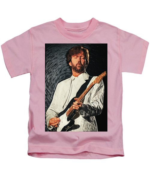 Eric Clapton Kids T-Shirt by Taylan Apukovska