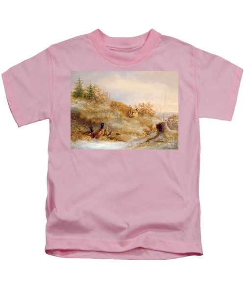 Fox And Pheasants In Winter Kids T-Shirt by Anonymous
