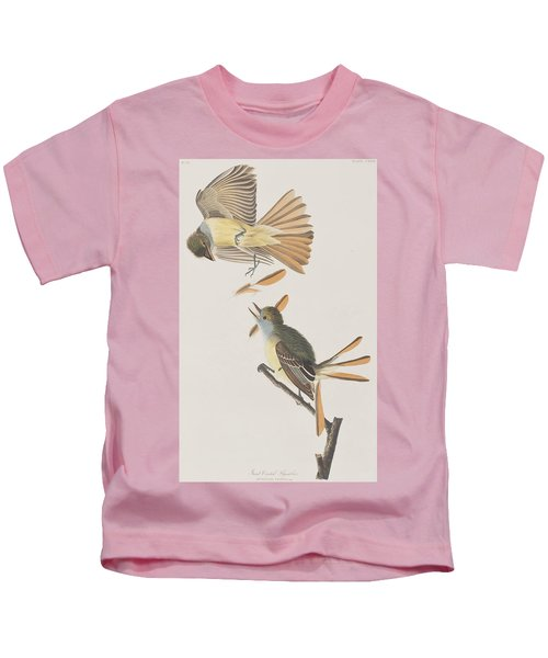 Great Crested Flycatcher Kids T-Shirt by John James Audubon