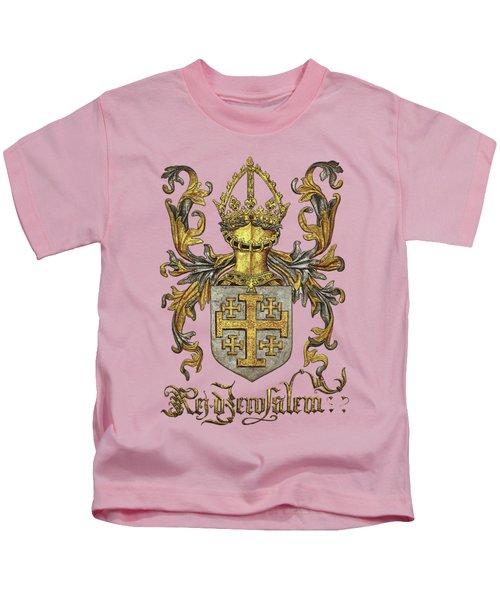 Kingdom Of Jerusalem Coat Of Arms - Livro Do Armeiro-mor Kids T-Shirt by Serge Averbukh