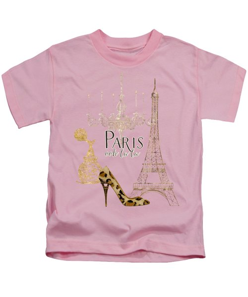 Paris - Ooh La La Fashion Eiffel Tower Chandelier Perfume Bottle Kids T-Shirt by Audrey Jeanne Roberts