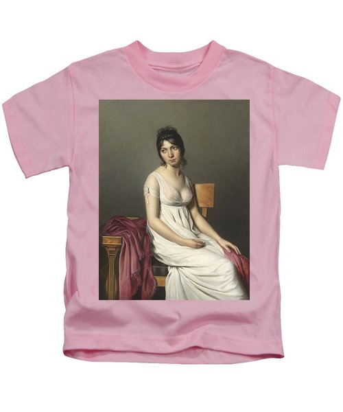 Portrait Of A Young Woman In White Kids T-Shirt
