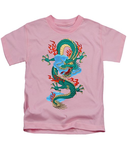 The Great Dragon Spirits - Turquoise Dragon On Rice Paper Kids T-Shirt