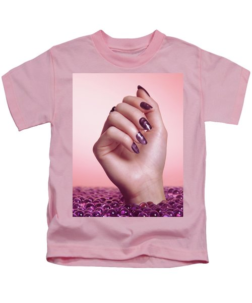Woman Hand With Purple Nail Polish Kids T-Shirt