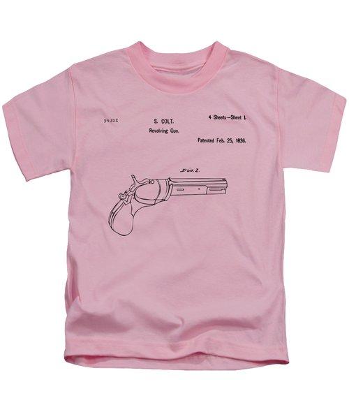 1836 First Colt Revolver Patent Artwork - Vintage Kids T-Shirt