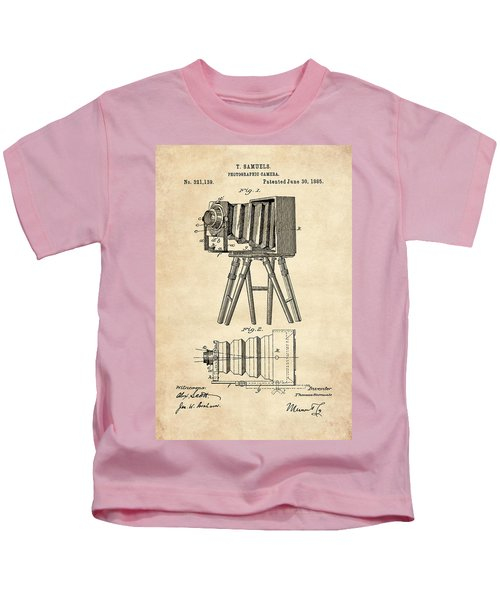 1885 Camera Us Patent Invention Drawing - Vintage Tan Kids T-Shirt