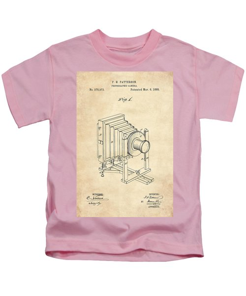 1888 Camera Us Patent Invention Drawing - Vintage Tan Kids T-Shirt