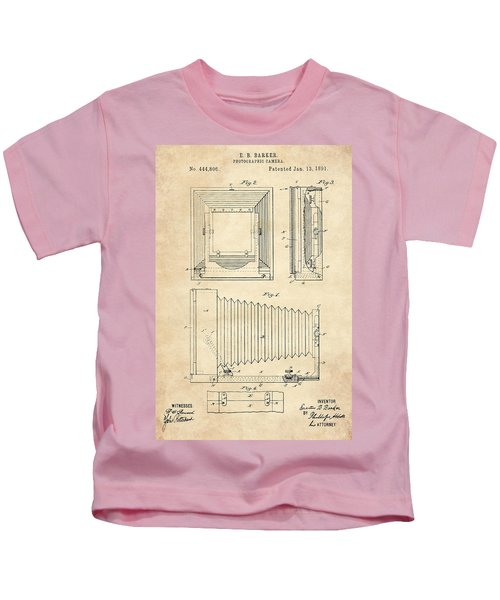 1891 Camera Us Patent Invention Drawing - Vintage Tan Kids T-Shirt