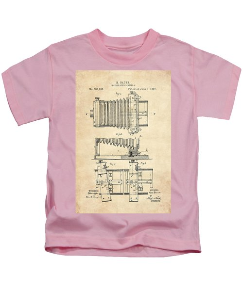 1897 Camera Us Patent Invention Drawing - Vintage Tan Kids T-Shirt