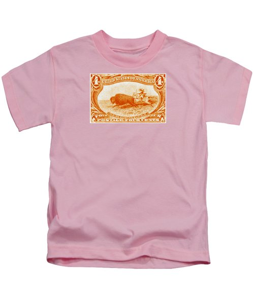 1898 Indian Hunting Buffalo Kids T-Shirt by Historic Image