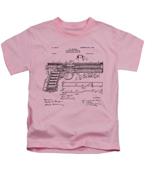 1903 Mcclean Pistol Patent Artwork - Vintage Kids T-Shirt