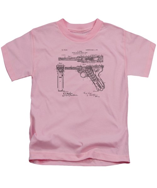 1904 Luger Recoil Loading Small Arms Patent - Vintage Kids T-Shirt