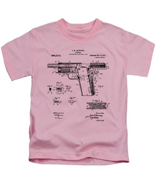 1911 Colt 45 Browning Firearm Patent 2 Artwork Vintage Kids T-Shirt