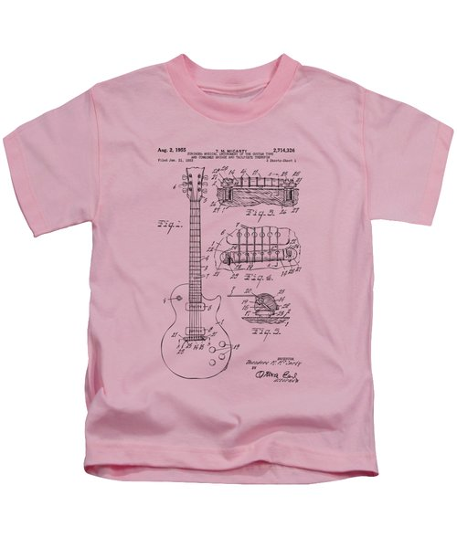 1955 Mccarty Gibson Les Paul Guitar Patent Artwork Vintage Kids T-Shirt by Nikki Marie Smith