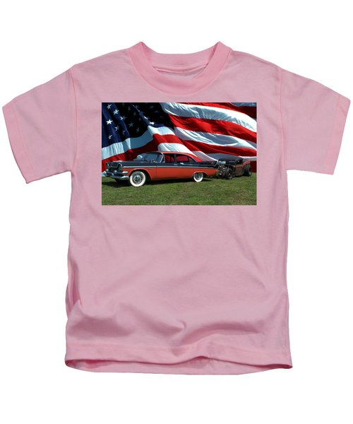 1958 Dodge Coronet And 1935 International Dragster Kids T-Shirt