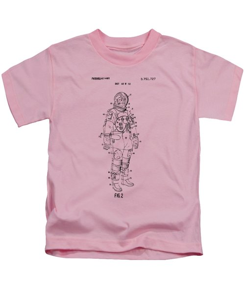 1973 Astronaut Space Suit Patent Artwork - Vintage Kids T-Shirt by Nikki Marie Smith