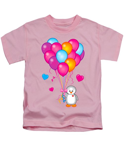 Baby Penguin With Heart Balloons Kids T-Shirt by A