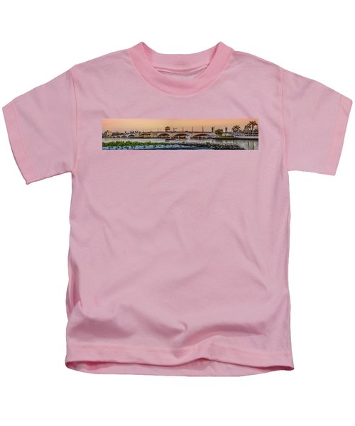 Flagler Bridge In Lights Panorama Kids T-Shirt